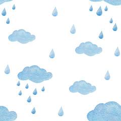 FototapetaWatercolor seamless pattern with raindrops and clouds isolated on white