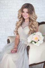 Naklejka young beautiful bride, wedding, smile
