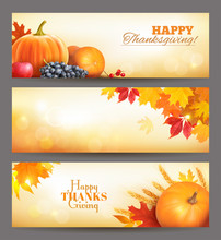 Thanksgiving Day Banners. Vect...