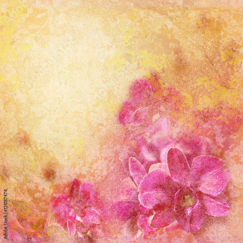 Keuken foto achterwand Bloemen Grunge texture with abstract romantic floral background. Pink tropical orchid flowers in vintage style