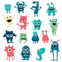 Cartoon Monsters Set. Colorful...