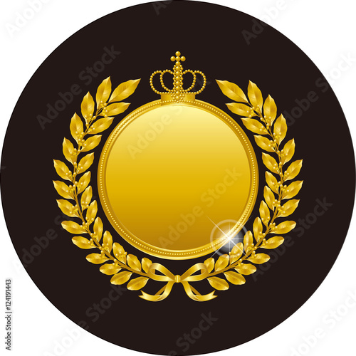 Fotografie, Obraz  金色の月桂冠とメダル