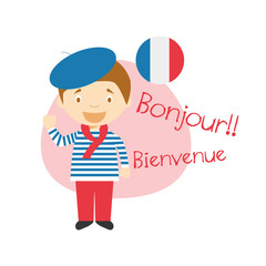 FototapetaVector illustration of cartoon characters saying hello and welcome in French