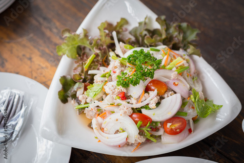 Thai Spicy noodle salad or Spicy vermicelli salad with