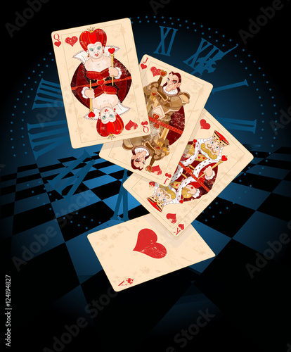 Printed kitchen splashbacks Fairytale World Hearts Play Cards