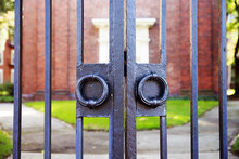 Vintage Iron Gates Closeup. Ha...