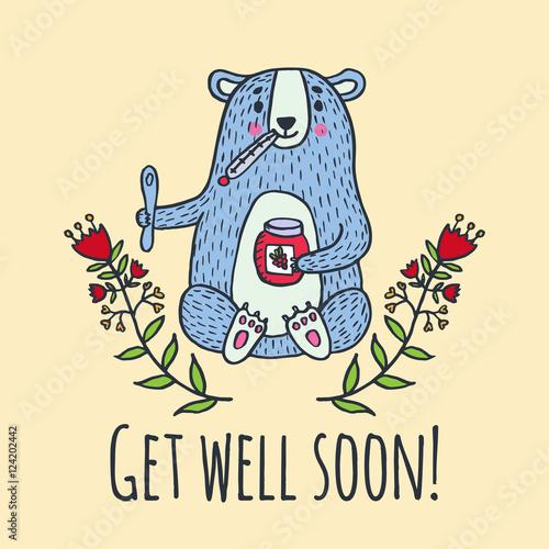 Valokuva  Get well soon card with teddy bear and jam