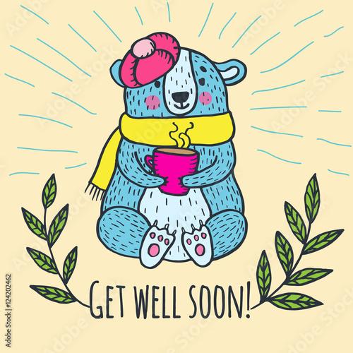 Valokuva  Get well soon card with teddy bear
