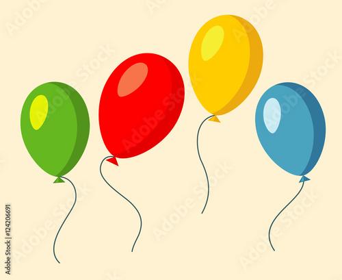 Zestaw czterech kolorowych balonów wektorowych ilustracji