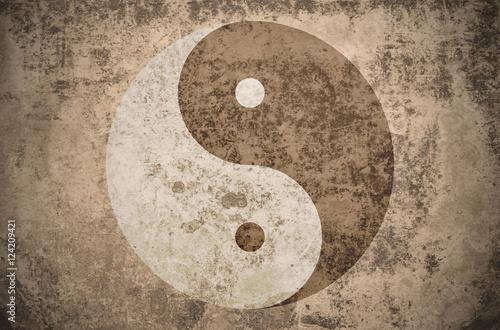 Fotografia, Obraz  grunge yinyang symbol