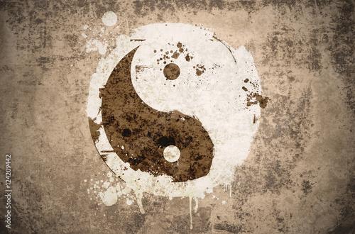 Plakat nieczysty symbol yinyang