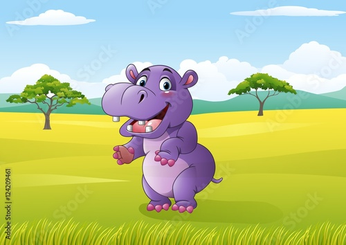 Canvas Prints Bears Cartoon funny hippo in the jungle