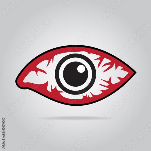 Fotografie, Obraz  Eye redness icon, Inflammatory disease of eyes.