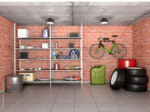 Fotografia, Obraz Interior garage with tools, equipment and wheels. 3d illustratio