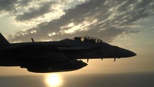 Fighter Plane Sunset, F/A-18 Super Hornet Fighter Jet During Sunset.