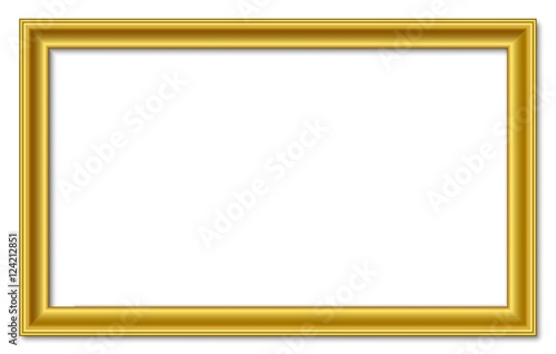 16to9 169 Panorama Wide Golden Vector Retro Picture Frame Isolated