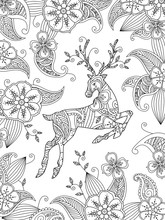 Coloring Page With Running Deer And Floral Background. Vertical Composition.