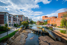 View Of The Reedy River, In Downtown Greenville, South Carolina.