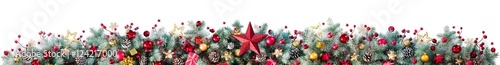 Carta da parati  Decorations Of Fir Branches And Baubles On White - Christmas Border