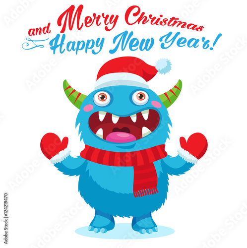 cute christmas monster vector card holiday cartoon mascot merry christmas happy new year congratulation decoration design element good for xmas card banner buy this stock vector and explore similar vectors at cute christmas monster vector card