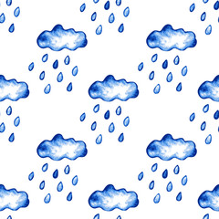 Fototapeta rainy clouds seamless pattern
