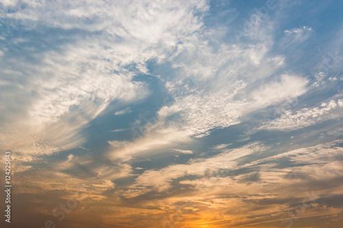 Fototapeta Sunset sky with white clouds and bright sky background. obraz na płótnie