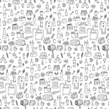 Seamless Pattern Hand Drawn Do...