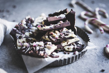 All-natural Dark Chocolate Peppermint Bark With Cacao Nibs And F