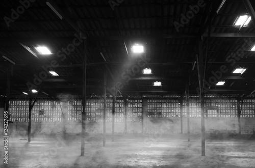 Papiers peints Les vieux bâtiments abandonnés Abandoned warehouse. Black and white image. noise scene.