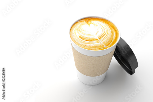 Wall Murals Cafe Paper cup of coffee latte on white background. 3D illustration