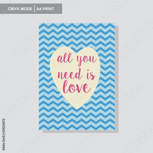 фотография  all you need is love wall poster vector giftcard cevron