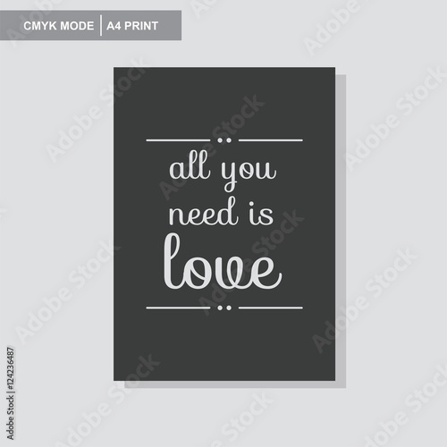 Photo  all you need is love wall poster vector giftcard