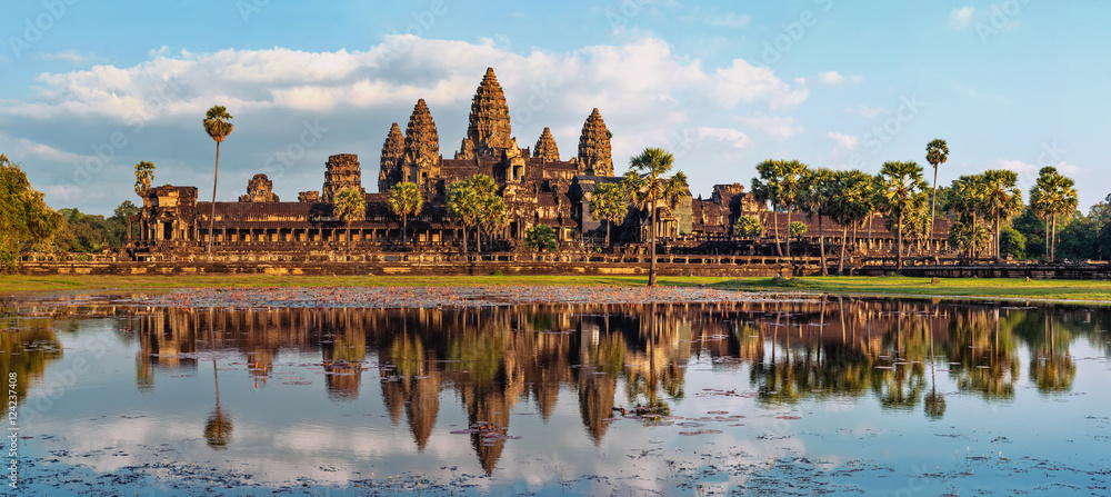 Fototapety, obrazy: Ancient Khmer architecture. Panorama view of Angkor Wat temple at sunset. Siem Reap, Cambodia