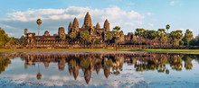 Ancient Khmer Architecture. Panorama View Of Angkor Wat Temple At Sunset. Siem Reap, Cambodia