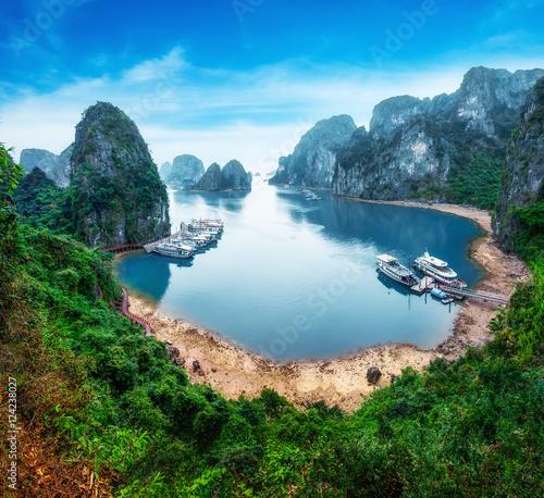 Canvas-taulu Tourist junks floating among limestone rocks at Ha Long Bay, South China Sea, Vi