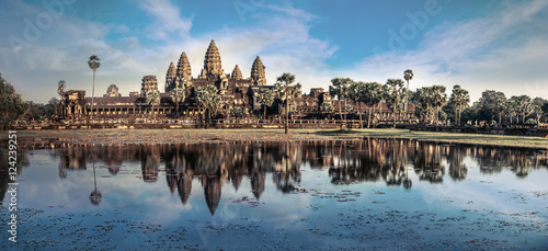 Spoed Fotobehang Bedehuis Ancient Khmer architecture. Amazing view of Angkor Thom temple under blue sky. Angkor Wat complex, Siem Reap, Cambodia travel destinations. Six vertical images panorama