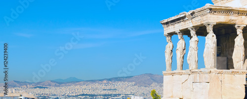Poster Athene Banner panoramic background with Acropolis, Erechtheum Temple in Athens, Greece and blue sky