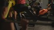 Bodybuilding. View of girls training in gym