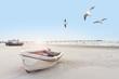 Leinwandbild Motiv schönes Strandbild mit Booten und Möven