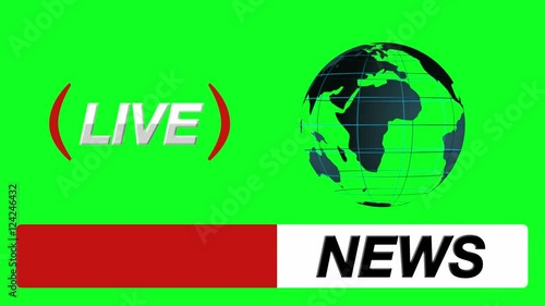 Stock Video Of News Logo Bumper Globe And Live Icon On A Green