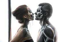 Posing Of Pole Dance Couple In Studio