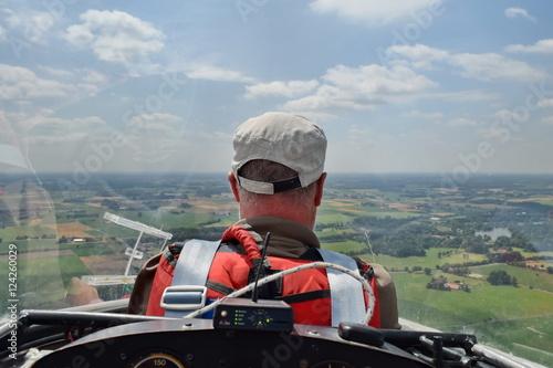 Sailplane pilot at landing