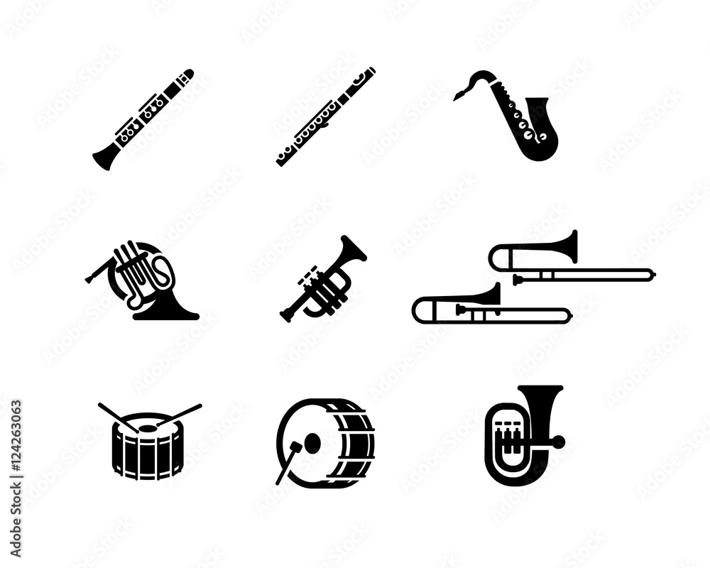 Fotografie, Obraz  Marching Band Vector Icon Set