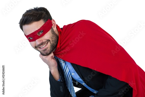 Fotografie, Obraz  Portrait of businessman pretending to be a super hero
