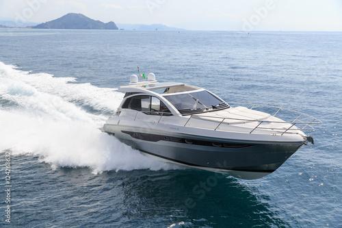 luxury motor boat, rio yachts italian shipyard, aerial view