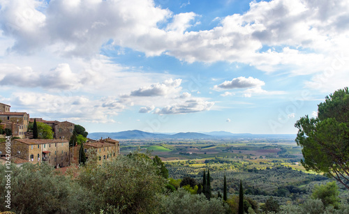 tuscan landscape and medieval village, italy