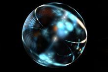 Abstract Fractal Magic Blue Ball On Dark Backdrop