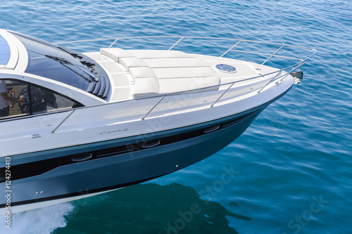 Tuinposter Schipbreuk luxury motor boat, rio yachts italian shipyard, aerial view