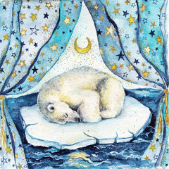 Fototapeta Do pokoju dziecka Watercolor children illustration with sleeping white bear on the iceberg. Postcard or poster