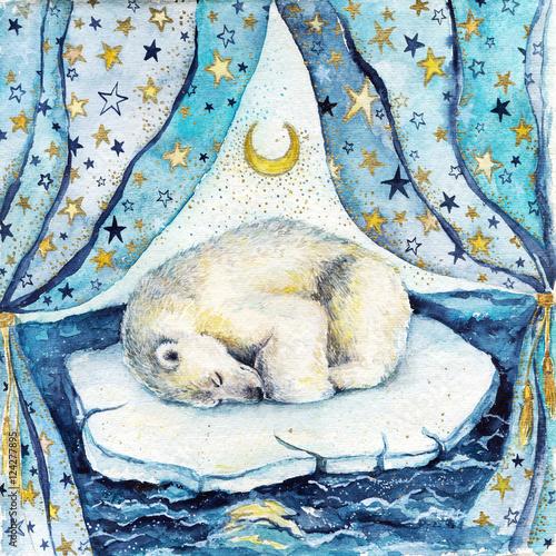 Akwareli dzieci ilustracyjni z sypialnym białym niedźwiedziem na górze lodowa. Pocztówka lub plakat